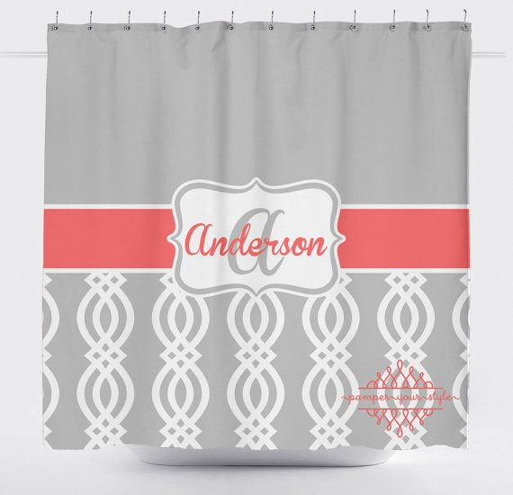 Coral And Gray Trellis Shower Curtain Lattice By Pamperyourstyle