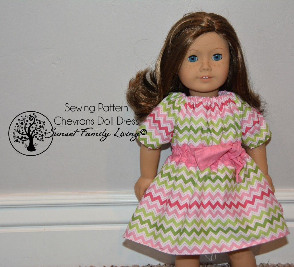 chevrons doll dress -- free sewing pattern -- American Girl, Gotz ...