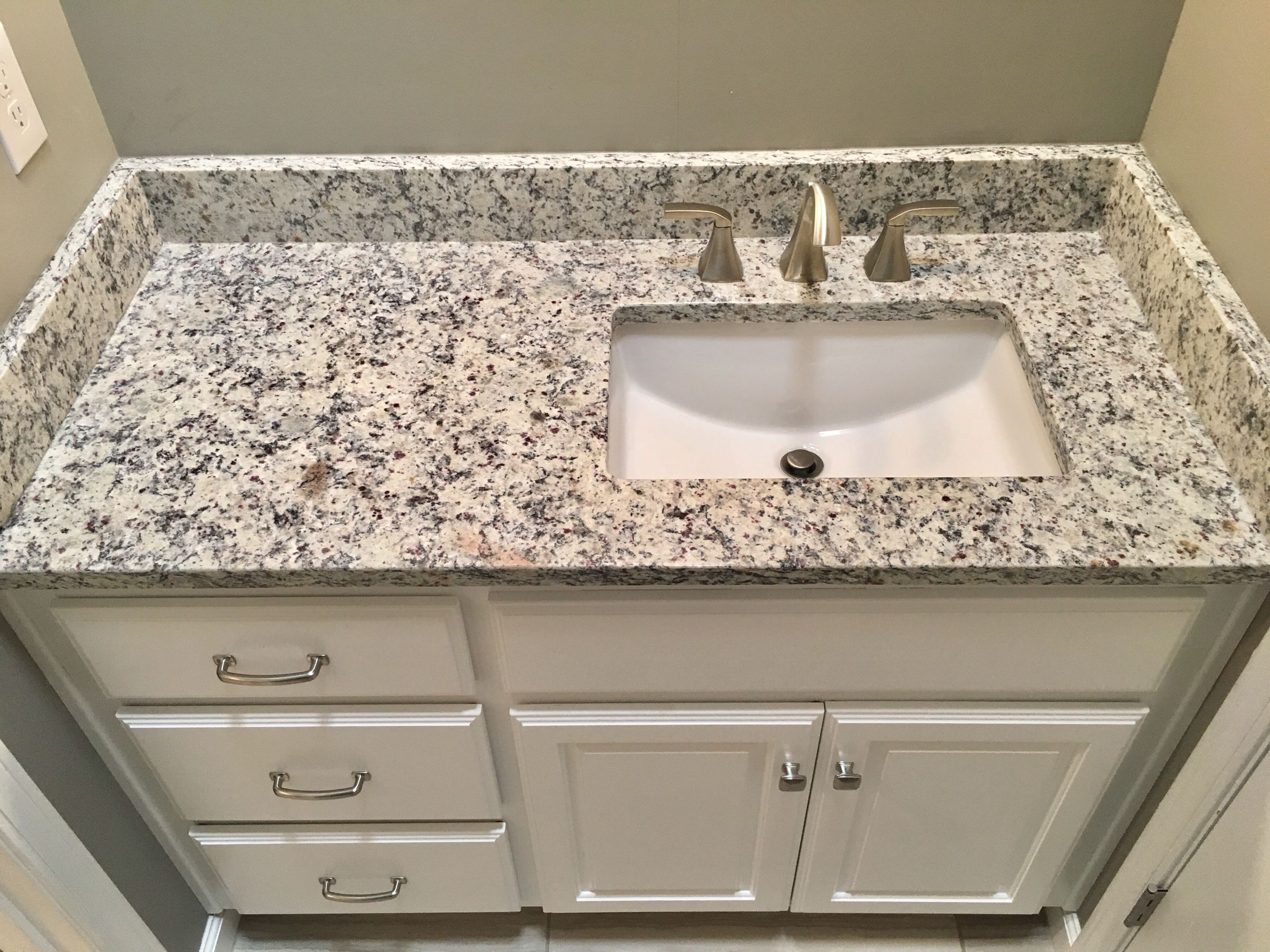 Ashen white granite countertops, Moen 8
