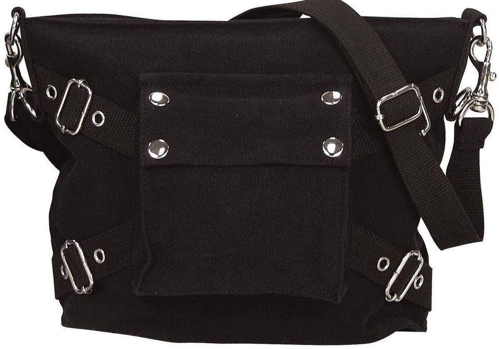 Girls Black Stone Washed Canvas Mini Military Shoulder Bag Biker Style Purse   Canvas  ShoulderBag 38996f248c5