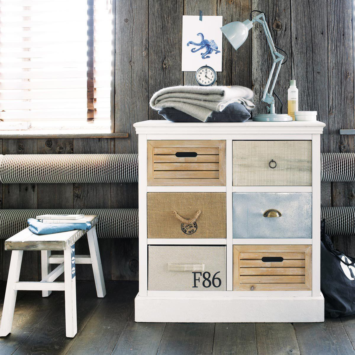commode cabinet blanc ouessant