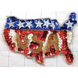 """Patriotic America Flag in Shape of USA Map with Sequins and Beads 4"""" x 3"""""""