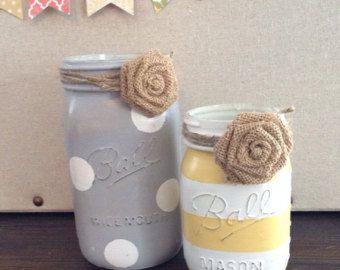 Painted mason jar | Etsy