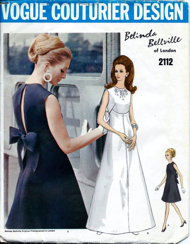 b00083f0e2c4 Vogue 2112 Vintage 1960s Vogue Couturier BELINDA BELLVILLE di Londra  vestito da sera o Abito da sposa modello di cucito. Modello 2112 è stato  tagliato ed è ...