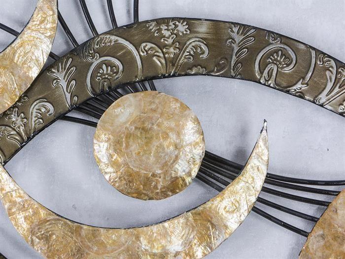 WAND-DEKO Auge Muschel - aus Metall Breite 99cm Höhe 63cm - wohnzimmer deko gold