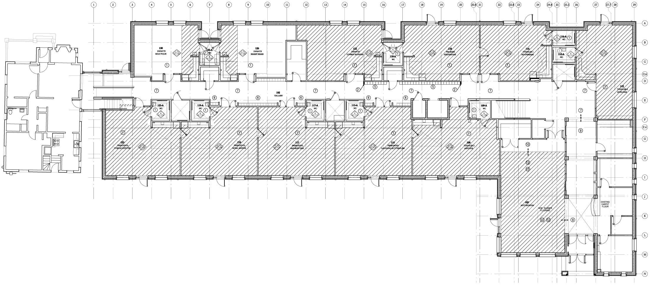 Montessori school architectural plan google 39 da ara for Small daycare floor plans