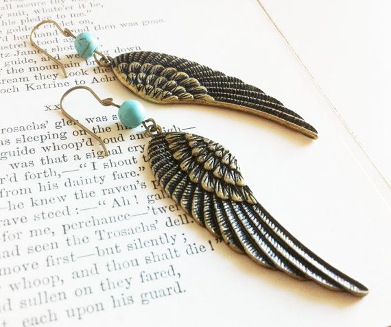 Gold and Turquoise Angel Wing Earrings by EridaneasBoutique
