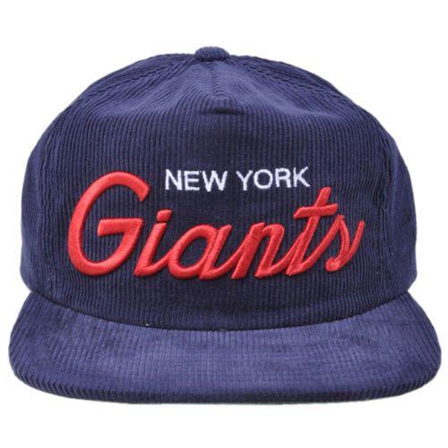 Mitchell Ness NFL New York Giants Vintage Football Texture Corduroy Zipback  Hat  ad5b9c67b
