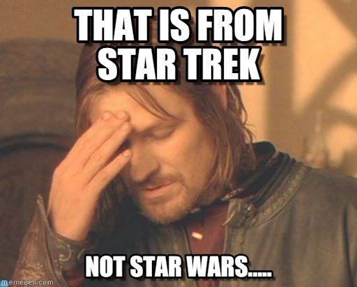 2 teenagers at a nearby table talking {sigh}. #lol #startrek #starwars #scifi #geek