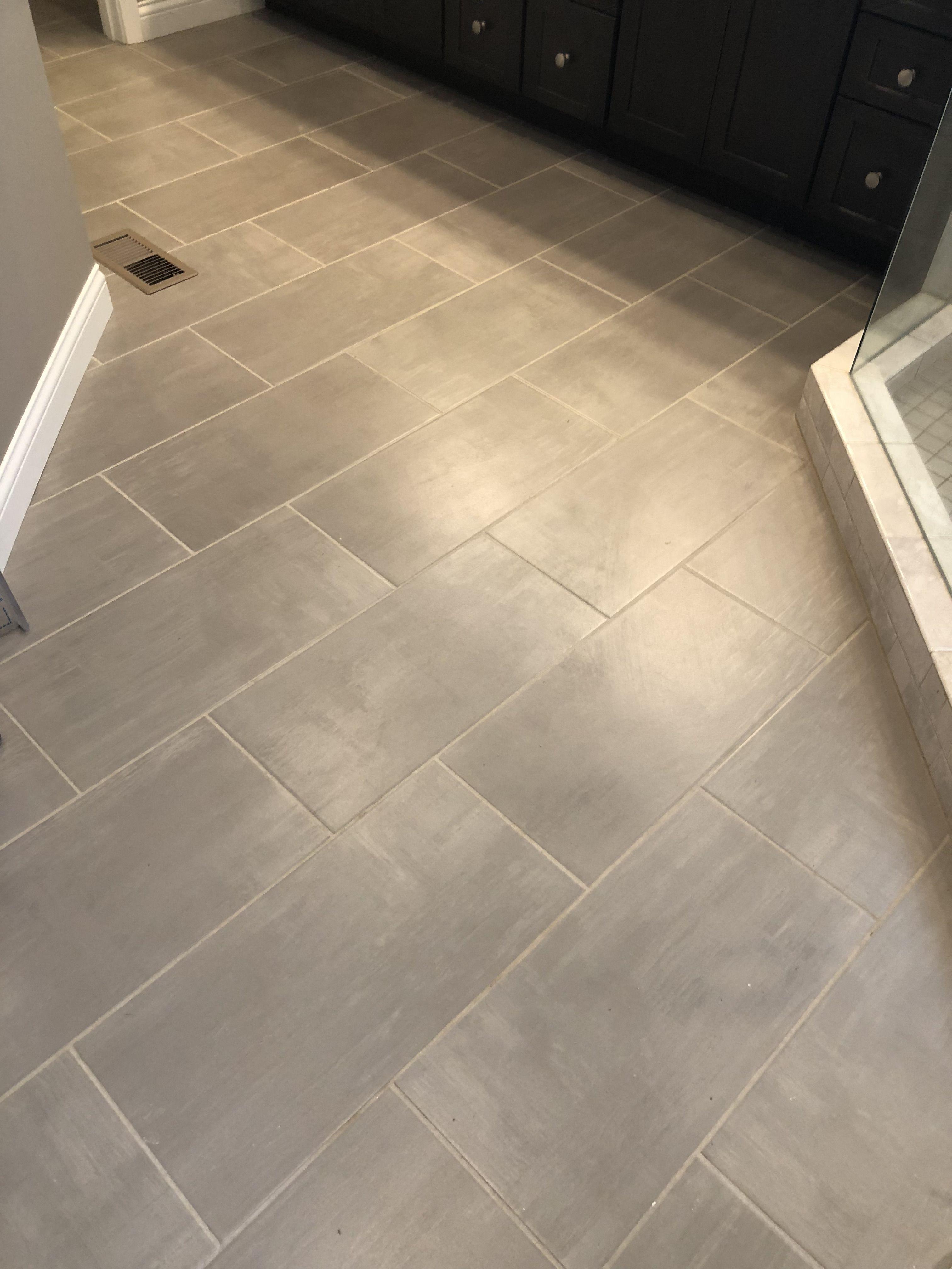 Skybridge 12x24 Gray Floor Tile Installed Brick Joint Grey
