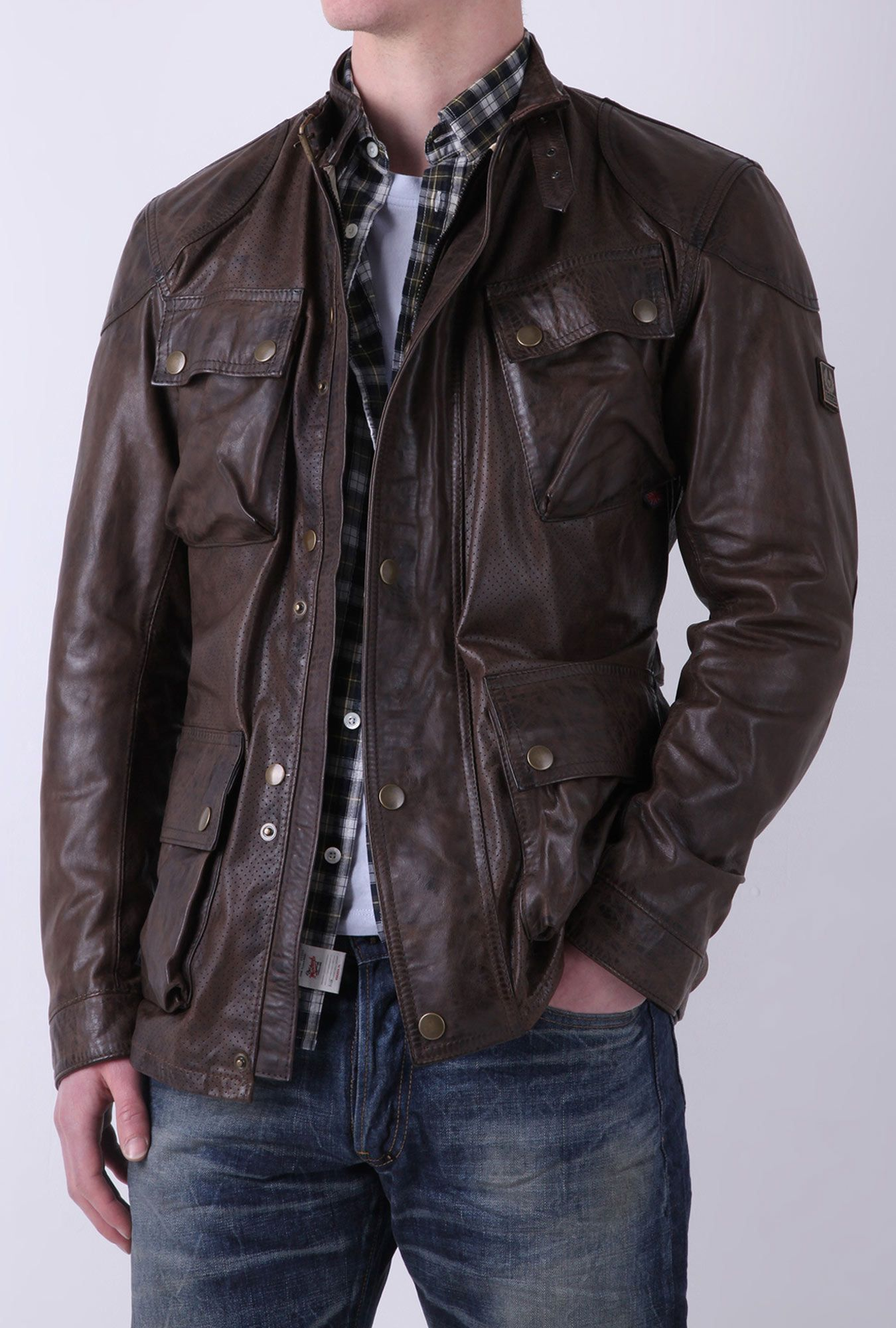 9dcc5d440b Chocolate Perforated Leather Panther Jacket by Belstaff | jackets ...