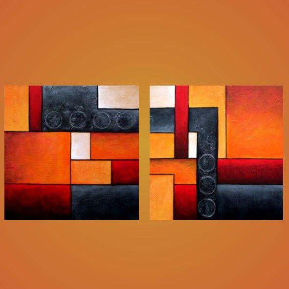 Cuadros abstractos modernos decorativos tripticos dipticos for Imagenes cuadros abstractos modernos
