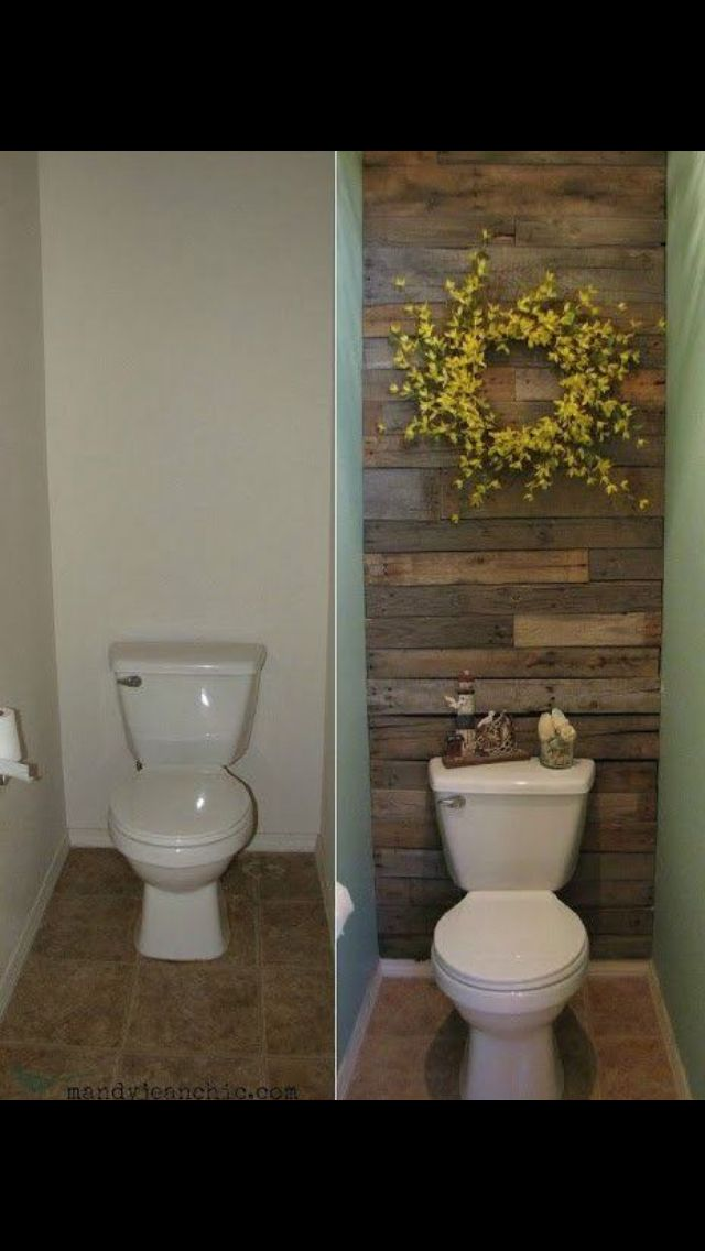 Half Bath Adding Character Rustic Pallet Wood Wall Behind Toilet Offset By A Blingy Tile Or Faux Stone Wall On T Home Remodeling Diy Pallet Wall Home Decor
