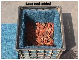 Line bottom of crate with lava rock pondering pond for Koi pond rock bottom