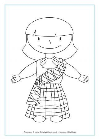 Scottish girl colouring page | MFW Exploring Countries & Cultures ...