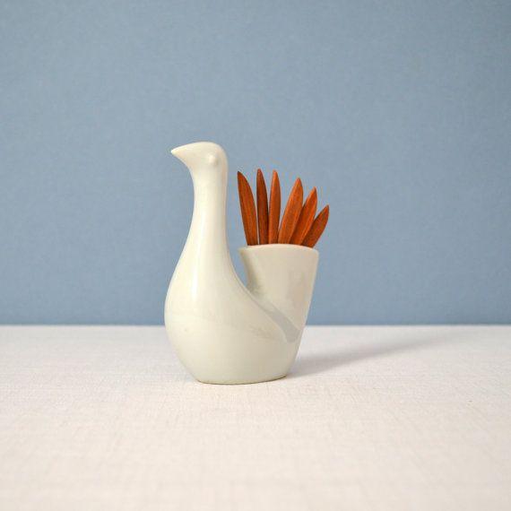 Vintage Otagiri Porcelain Bird Teak Pick Holder. MidModMomStore,