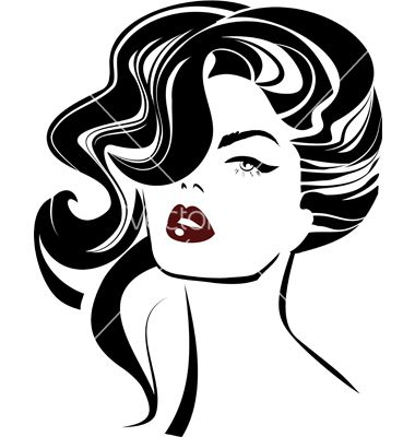 Vintage Woman Face Fashion And Hair Icon Vector Image On Vectorstock Face Drawing Retro Girls Drawings