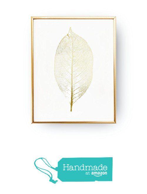 Leaf Print, Botanical Leaf Print, Minimalist Art, Real Gold Foil, Leaf Poster…