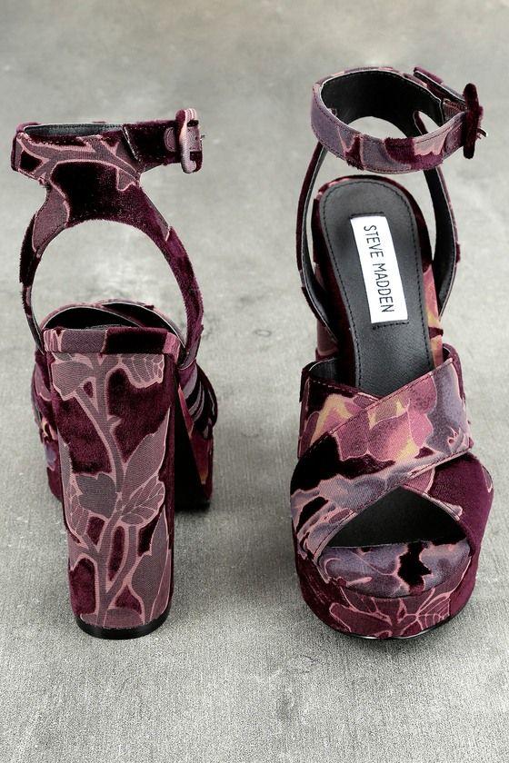 3b0990e3986 Steve Madden Jodi Burgundy Velvet Platform Ankle Strap Heels 3