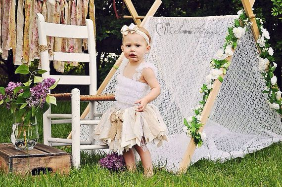 Fabric Tutu CREAM AND SUGAR Vintage Lace Burlap by ChicSomethings