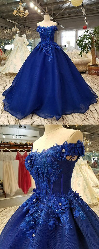 2947fbe443 Royal blue tulle off shoulder long lace applique senior prom dress with  sleeve  prom
