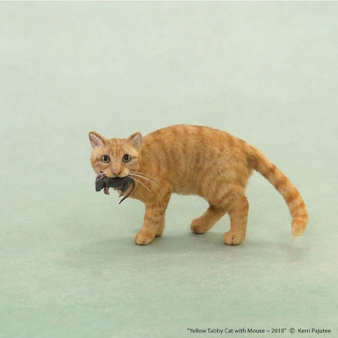 Dollhouse Miniature Yellow Tabby Cat with mouse. Sculptures are ...
