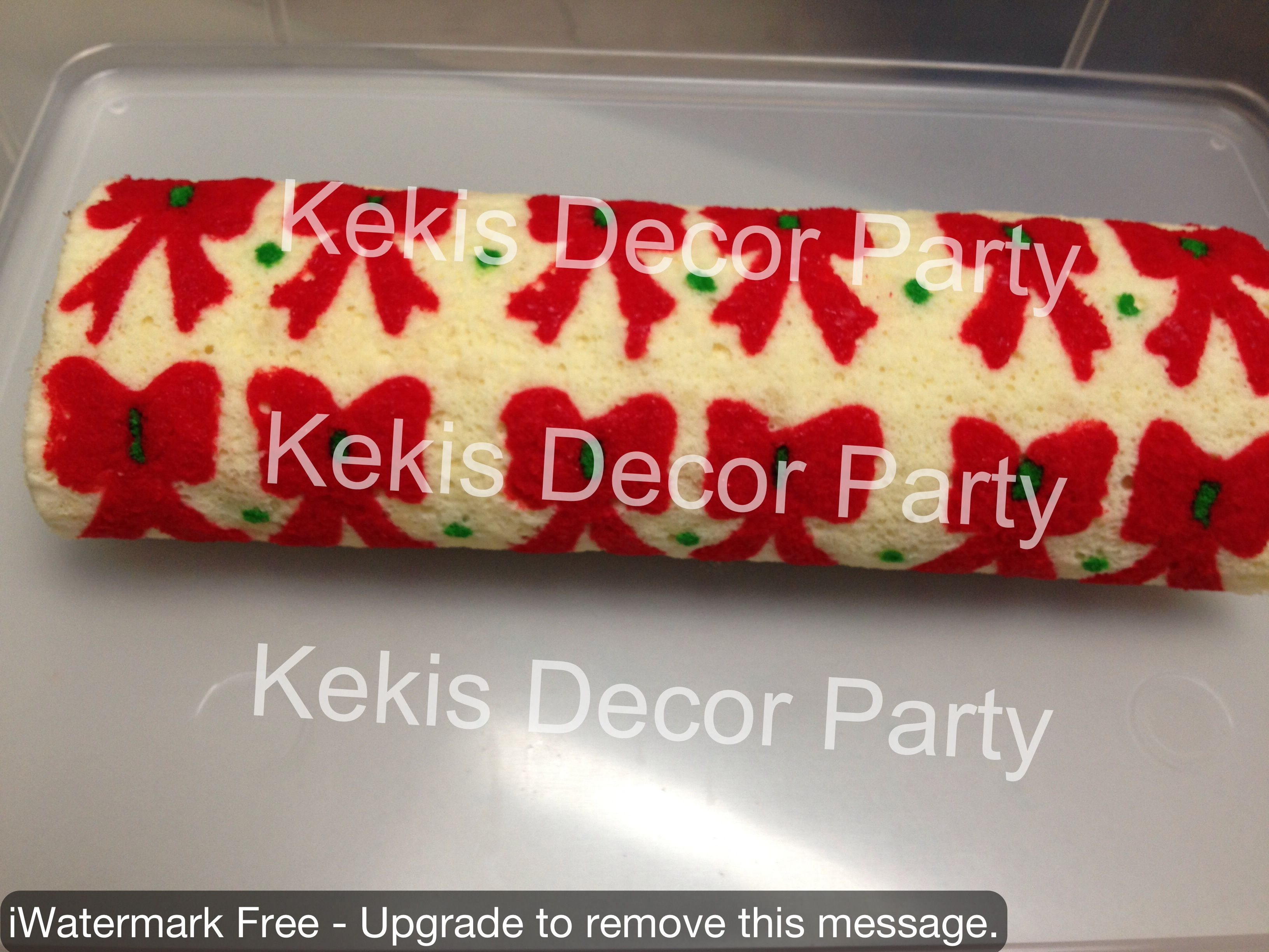 Patterned Cake Roll Christmas Bow