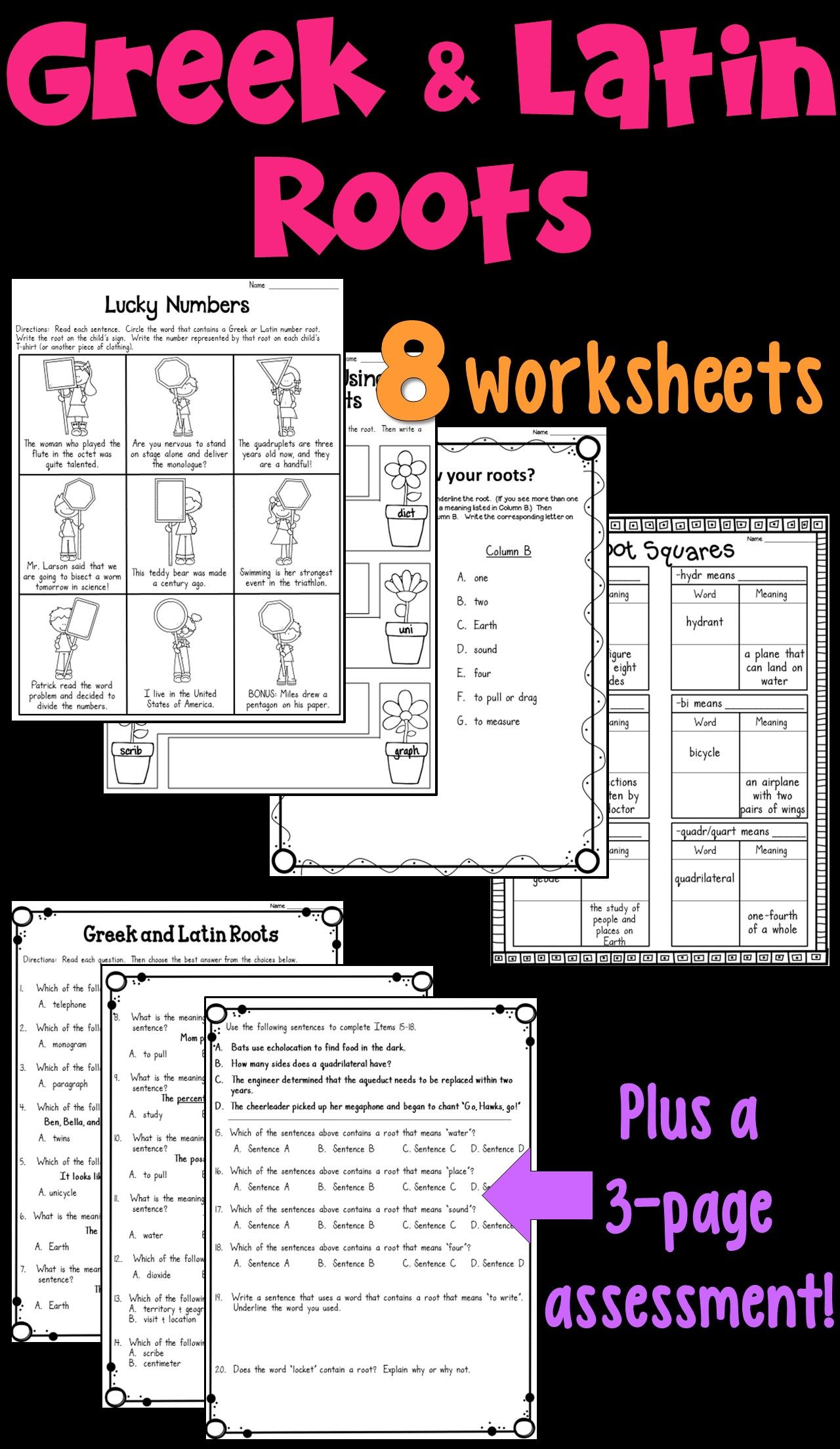 Worksheets Latin Roots Worksheet greek and latin roots worksheets assessment language arts worksheet packet this includes 8 a 3 page assessment
