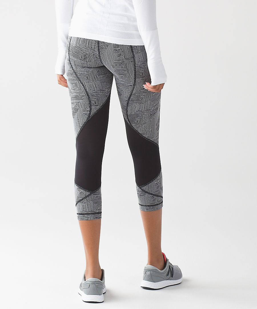 fb047541a7 Pants · Pace Rival Crop maze jacquard white black/black Lululemon, Maze,  Sweatpants, Rompers