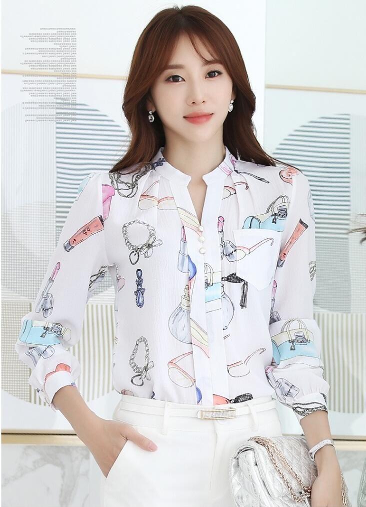 50f9e456ac 2017 Primavera Coreano V Neck Chiffon Blusa Floral Camisa de Manga Longa  Mulheres Slim Senhoras Escritório Blusas Feminina em Blusas   Camisas de  Das ...