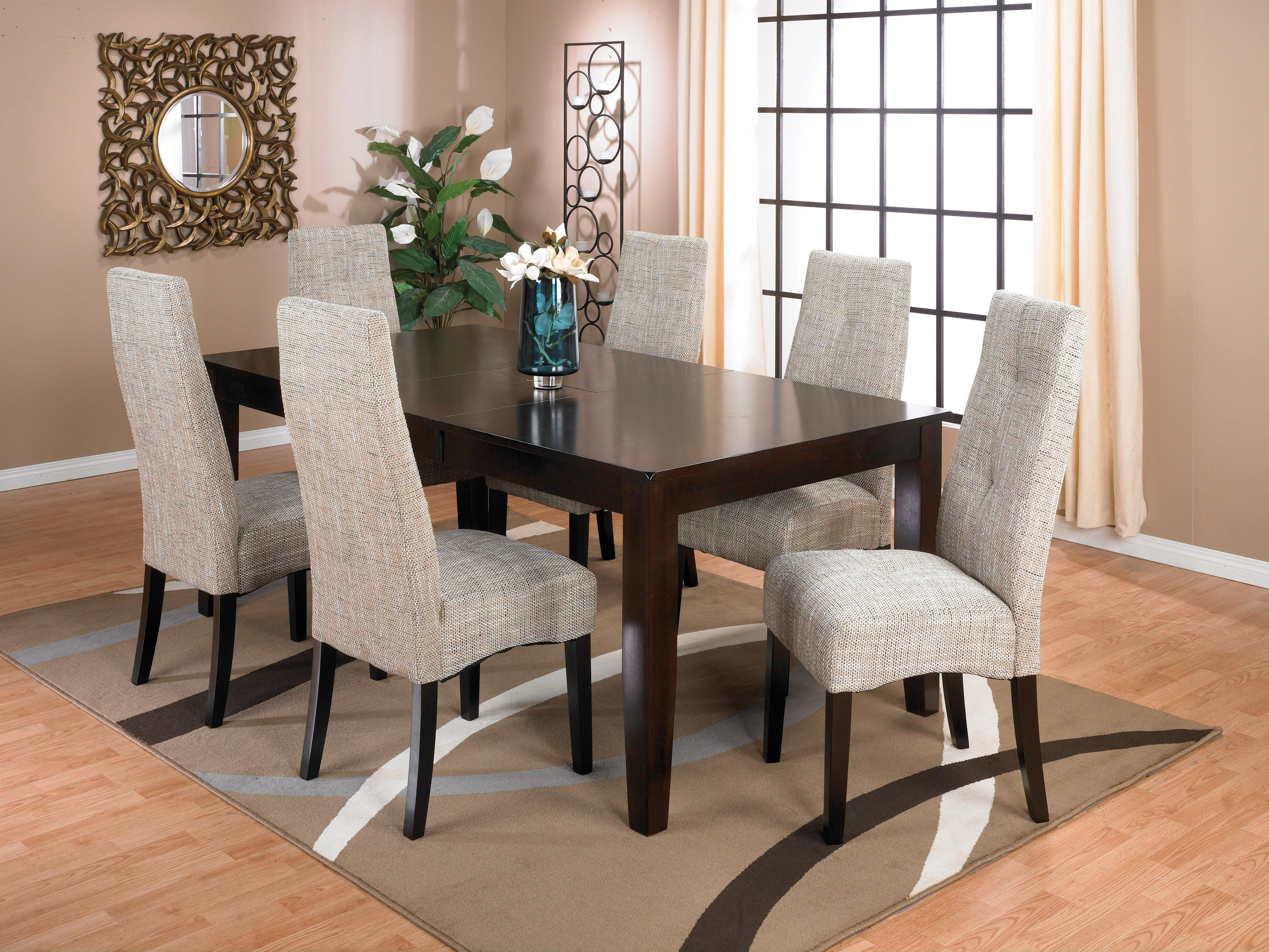 Dakota 7 Piece Dining Package With Linen Chairs  Dining Chairs Captivating Dining Room Accent Pieces Design Inspiration