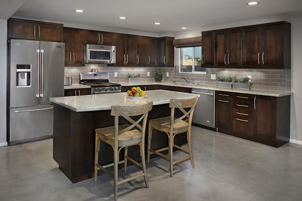 Transitional Edge Of Urban Shaker Style Cabinets In