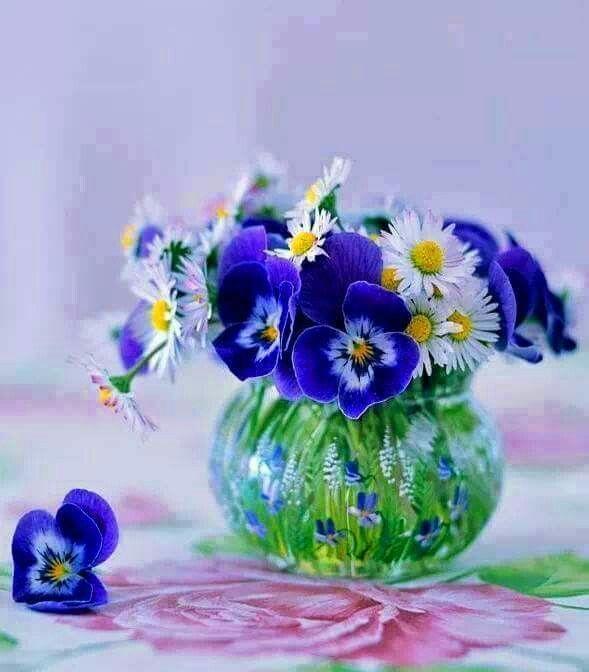 Vase Of Pansies And Daisies Pansies Flowers Floral
