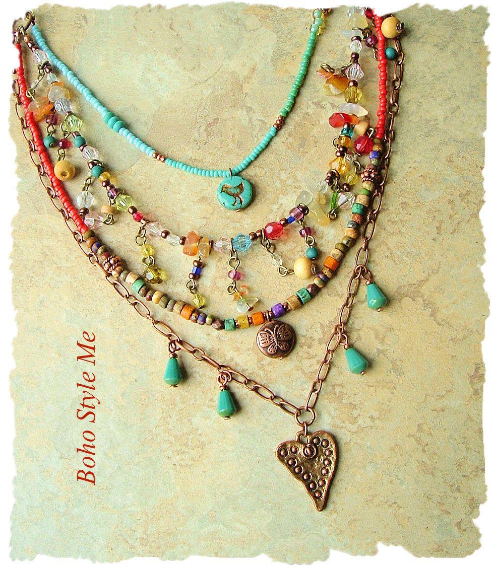 Boho Colorful Modern Hippie Necklace Layered Gypsy