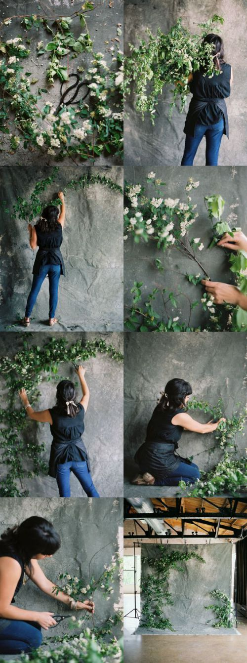 Flowered photo both diy backdrop pinterest fotohintergrund tragwerk und fotostudio - Diy pflanzenwand ...