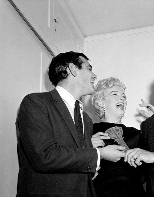 Marilyn Monroe receiving her key to Warner Brothers, 1956.