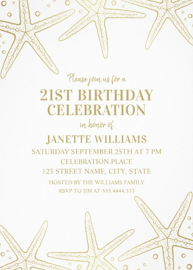 Nautical Adult 21st Birthday Invitations - Golden Starfish Invite ...