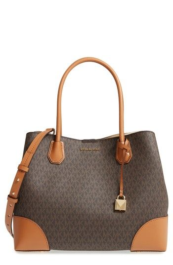 cee105955c02 real large mercer logo faux leather tote brown brown gold pinterest leather  totes michael kors and