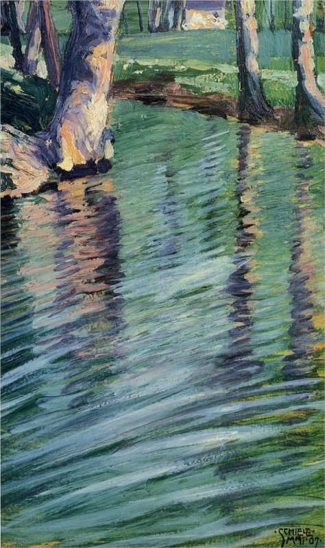 """""""Trees Mirrored in a Pond""""  --  1907  --  Egon Schiele  --  Austrian  --  Oil on cardboard  --  Private Collection"""