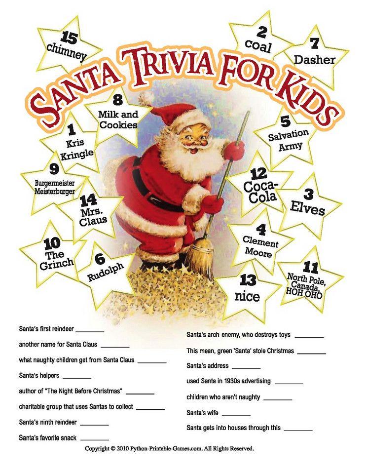 Printable Santa Claus trivia game for kids Christmas
