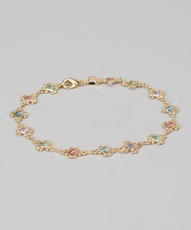 Another great find on #zulily! Gold & Crystal Swirl Diamond Link Anklet #zulilyfinds