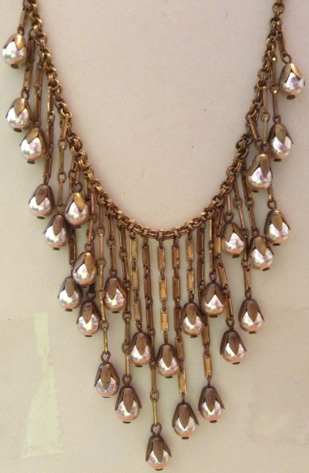 Vintage Miriam Haskell signed dangling niki pearl Egyptian necklace