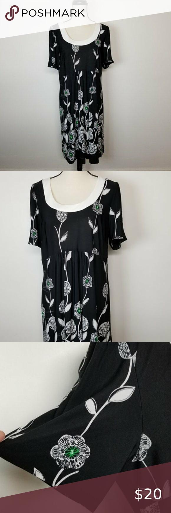 Dressbarn Black Dress With White Flowers Size 16 Black Dress Dresses Dressbarn [ 1740 x 580 Pixel ]
