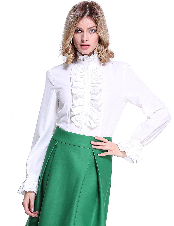 33e1f41de1883 PrettyGuide Women Stand-Up Collar Lotus Ruffle Shirts Blouse S White at Amazon  Women s Clothing store
