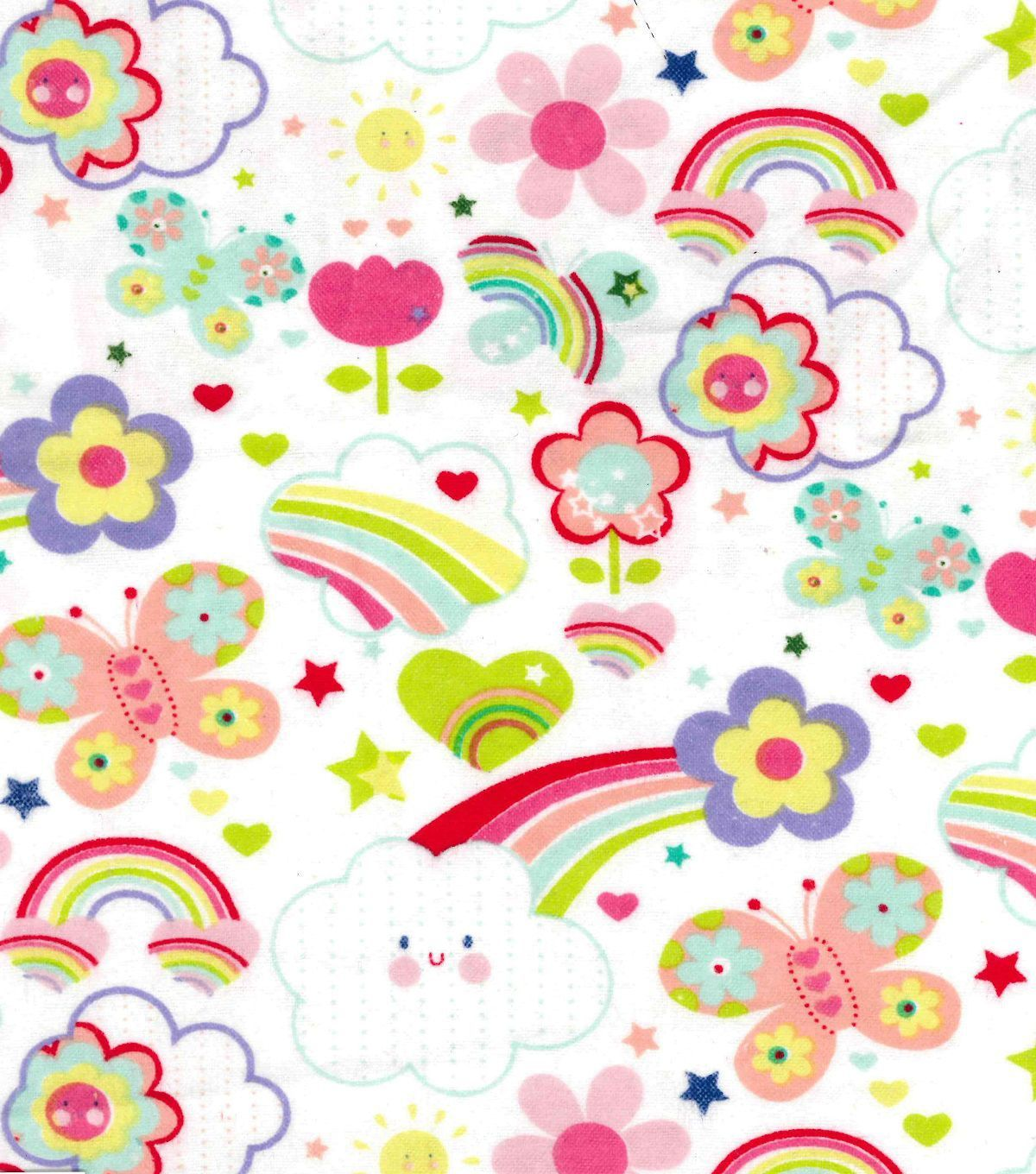Pin By Storytelling On Happy Fabric: Snuggle Flannel Fabric-Happy Rainbows