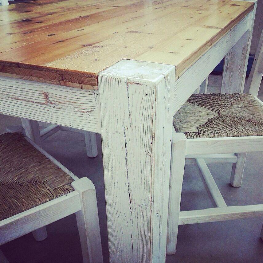 Tavolo legno vecchio bicolore mobili italiani wood for Mobili wooden art