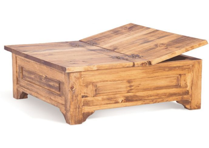 Large square storage chest trunk wood box coffee table for Large wood coffee table square
