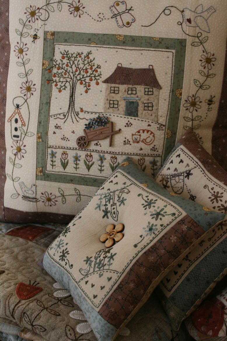 Lynette Anderson, adorable buttons and stitchery, fabric too!