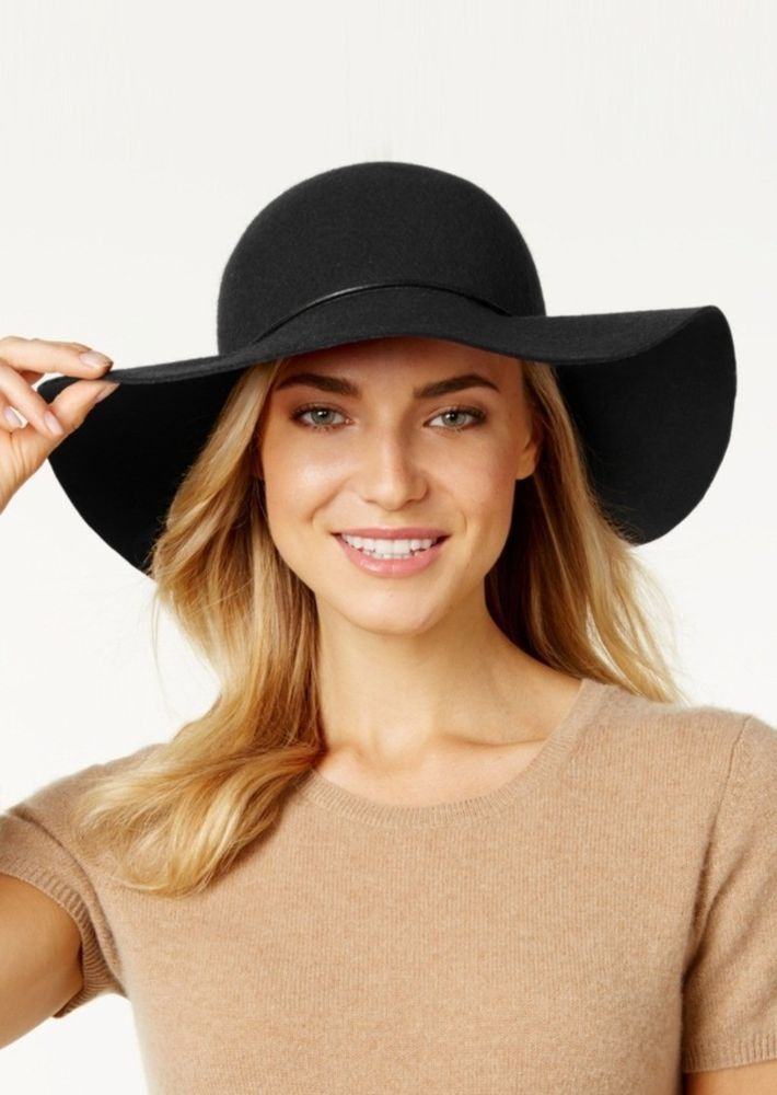5618ac123e5 NEW WITH TAGS! ( 54.00 MSRP) Nine West Women s Felt Floppy Hat Black ...