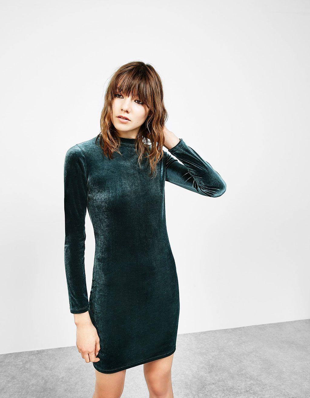 75e2bc1cf1 Fitted velvet dress - Woman - Bershka Ireland